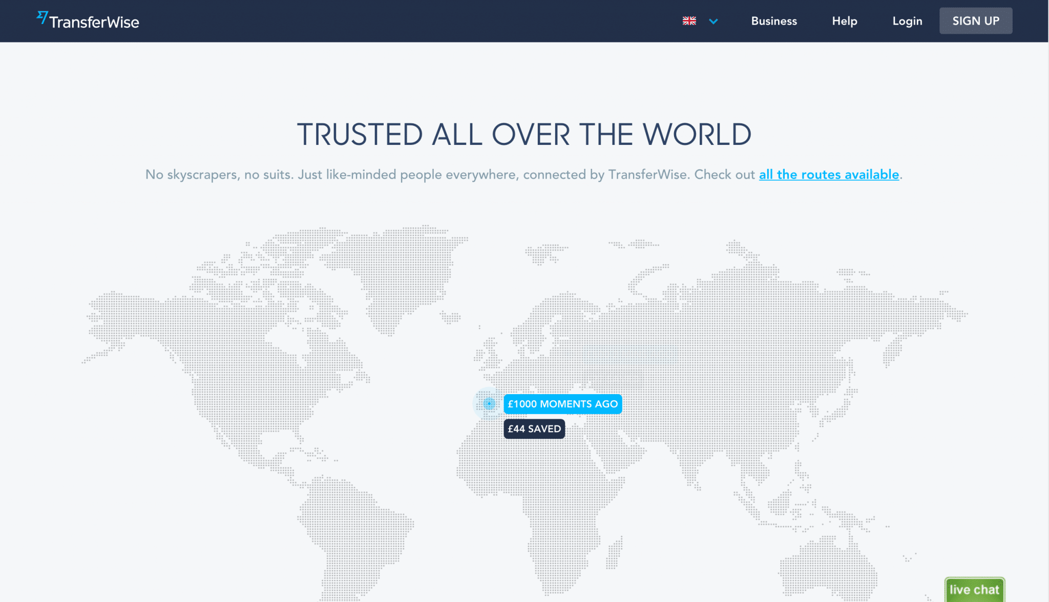 TransferWise homepage