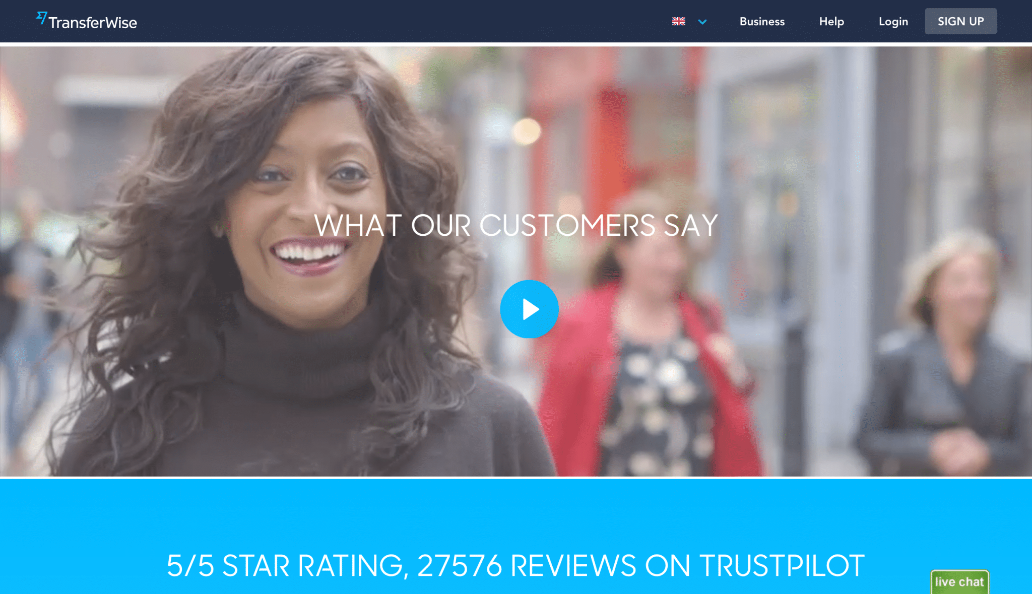 TransferWise homepage video testimonials