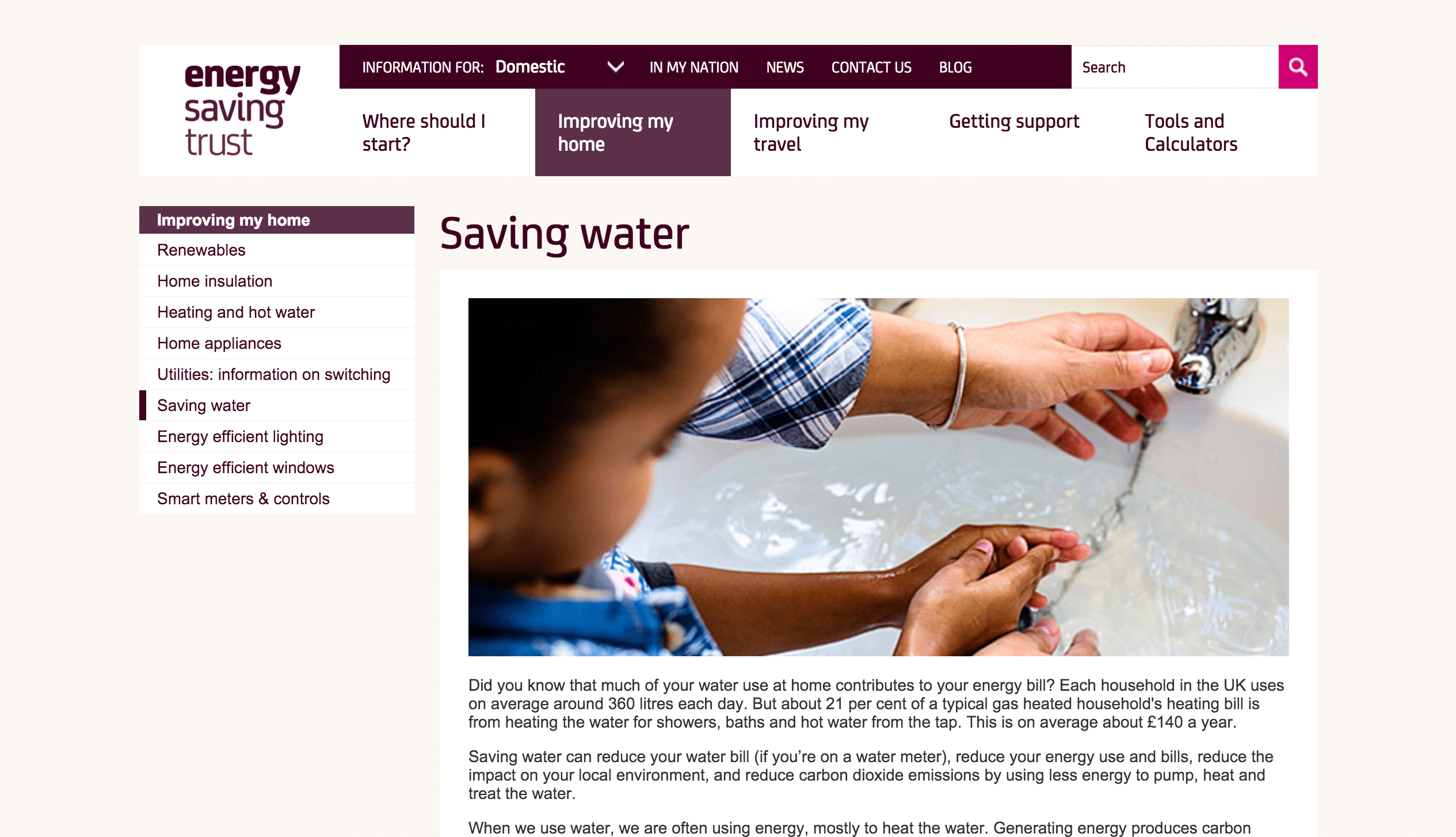 Energy Saving Trust information page