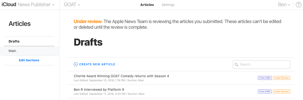 Publishing content on Apple News